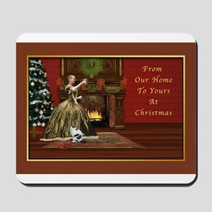 Christmas Card, Vintage Home, Holiday Toast Mousep