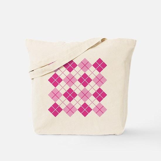 Pink Argyle Tote Bag