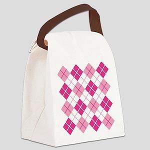 Pink Argyle Canvas Lunch Bag