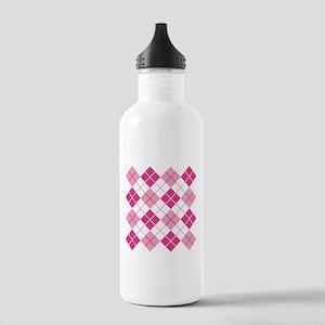 Pink Argyle Water Bottle