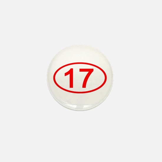 Number 17 Oval Mini Button
