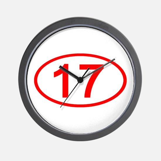 Number 17 Oval Wall Clock