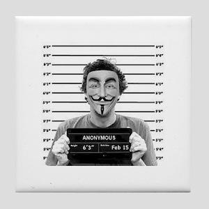 Anon Mugshot Tile Coaster
