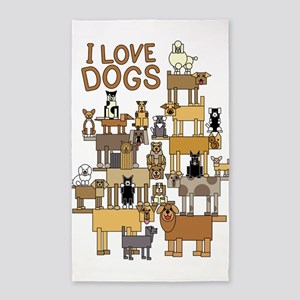 I LOVE DOGS 3'x5' Area Rug