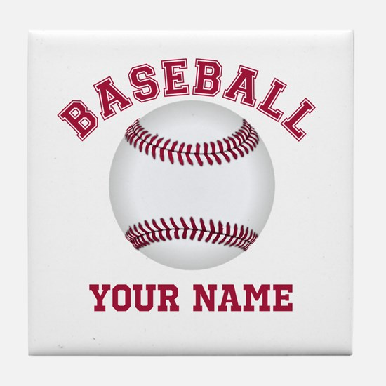 Personalized Name Baseball Tile Coaster
