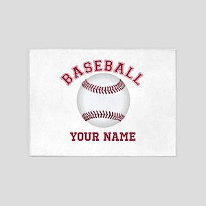 Personalized Name Baseball 5'x7'Area Rug
