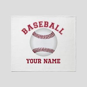 Personalized Name Baseball Throw Blanket