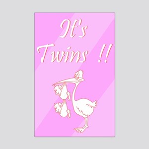 It's Twin Girls! Mini Poster Print