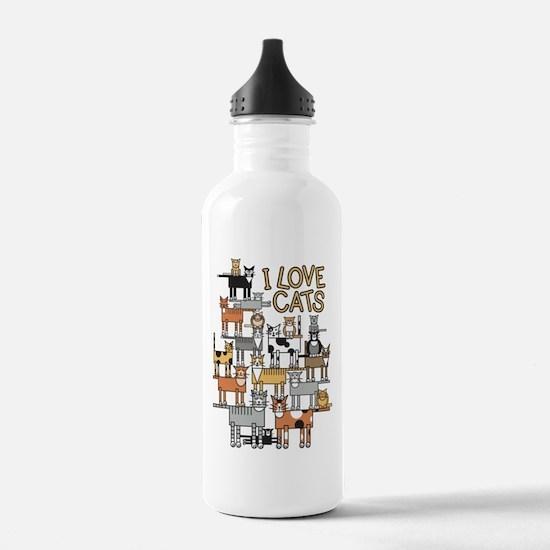 I LOVE CATS Water Bottle
