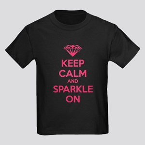Keep calm and sparkle on Kids Dark T-Shirt