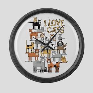 I LOVE CATS Large Wall Clock