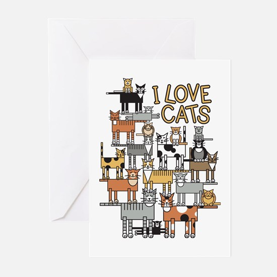 I LOVE CATS Greeting Cards (Pk of 20)