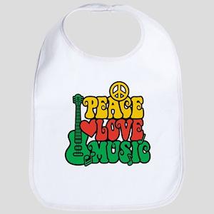 Reggae Peace Love Music Bib
