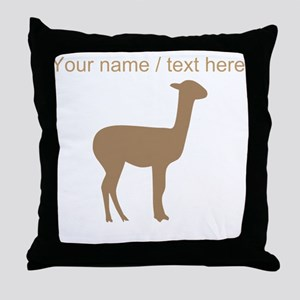 Personalized Brown Llama Silhouette Throw Pillow
