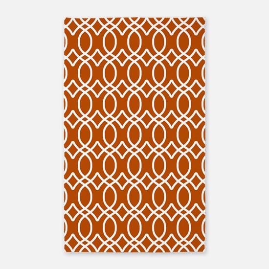 Spice Orange Ogee Pattern 3'x5' Area Rug