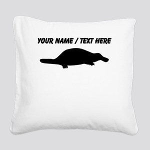 Personalized Black Platypus Silhouette Square Canv