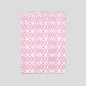 Light Rose Pink Ogee Pattern 5'x7'Area Rug