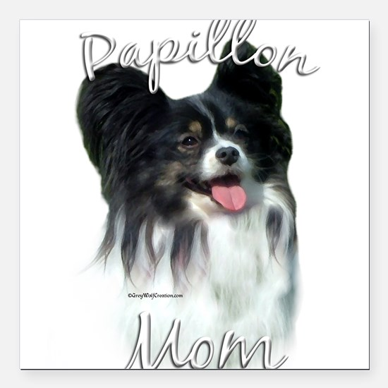 """PapillonMom.png Square Car Magnet 3"""" x 3"""""""