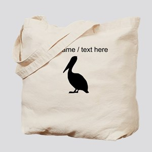 Personalized Black Pelican Silhouette Tote Bag