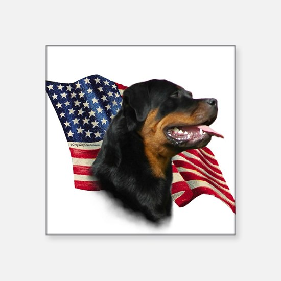 "RottweilerFlag.png Square Sticker 3"" x 3"""