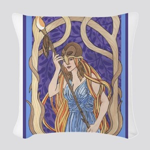 owl eyed athena Woven Throw Pillow