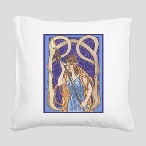 owl eyed athena Square Canvas Pillow