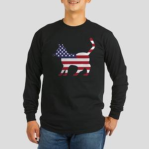 US Flag Cat Icon Long Sleeve T-Shirt