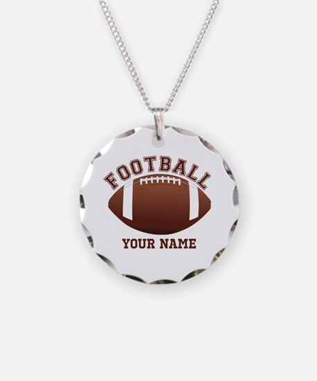 Personalized Name Footbal Necklace Circle Charm