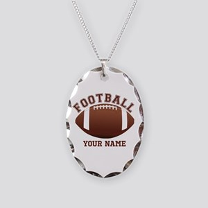 Personalized Name Footbal Necklace Oval Charm