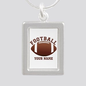 Personalized Name Footbal Silver Portrait Necklace