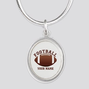 Personalized Name Footbal Silver Oval Necklace
