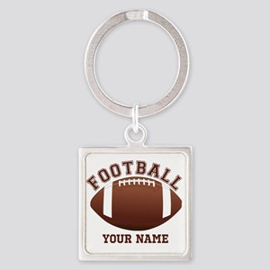 Personalized Name Footbal Square Keychain