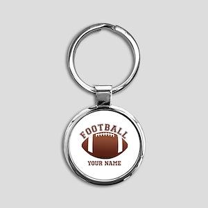 Personalized Name Footbal Round Keychain
