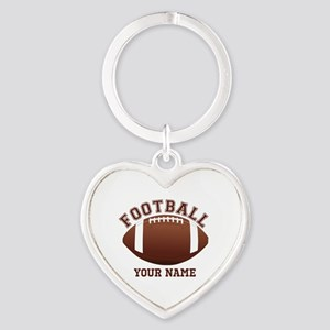 Personalized Name Footbal Heart Keychain