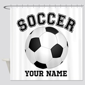 Personalized Name Soccer Shower Curtain