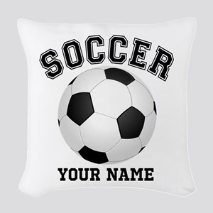 Personalized Name Soccer Woven Throw Pillow