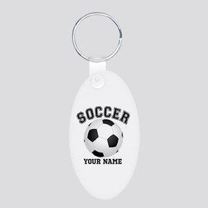 Personalized Name Soccer Aluminum Oval Keychain