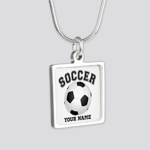 Personalized Name Soccer Silver Square Necklace
