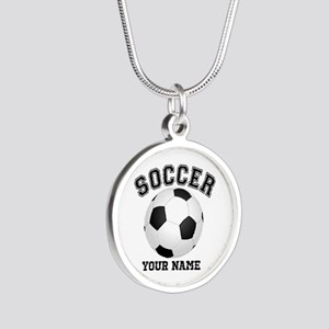 Personalized Name Soccer Silver Round Necklace