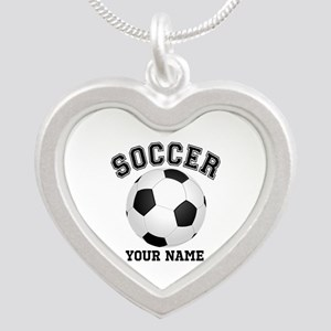 Personalized Name Soccer Silver Heart Necklace