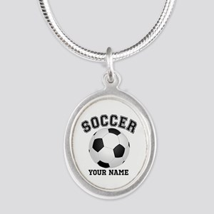 Personalized Name Soccer Silver Oval Necklace