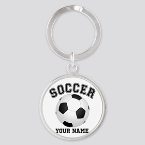 Personalized Name Soccer Round Keychain
