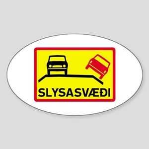 Accident Risk Area - Iceland Oval Sticker