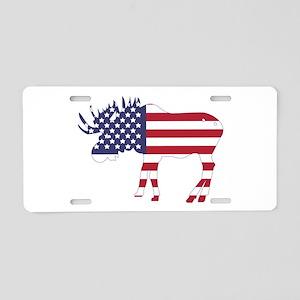 US Flag Moose Aluminum License Plate