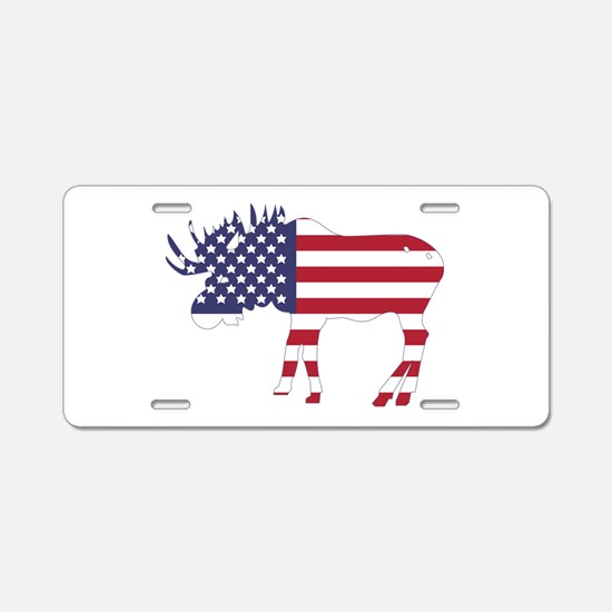 US Flag Moose Aluminum License Plate