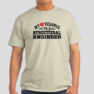 My Heart Belongs To A Structural Engineer Light T-