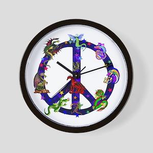Dragons Peace Sign Wall Clock