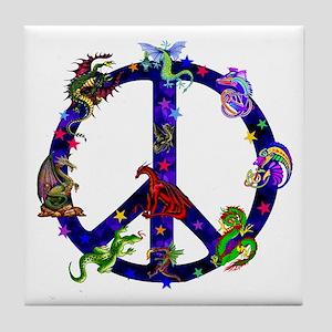 Dragons Peace Sign Tile Coaster