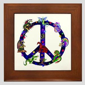 Dragons Peace Sign Framed Tile