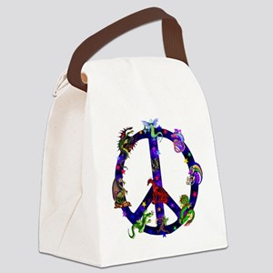 Dragons Peace Sign Canvas Lunch Bag